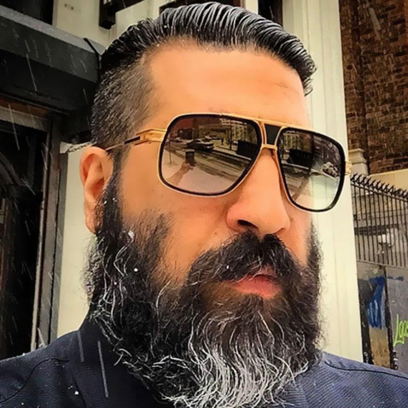 Brand Designer Women Flat Top Sun Glasses Square 18 K Oversized Men Sunglasses Gold Male Mirror High Quality Five Style Female