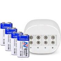 4pcs/lot 1000mAh Li ion 9 V Rechargeable Batteries+4 slots 9v Battery charger