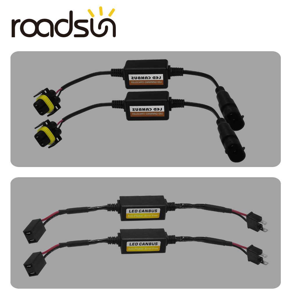 roadsun H1 H3 H4 H7 9005 9006 H11 LED Car Headlight Canbus Wiring Canceler Capacitor tAnti-flickers Error EMC Resistor Decoder