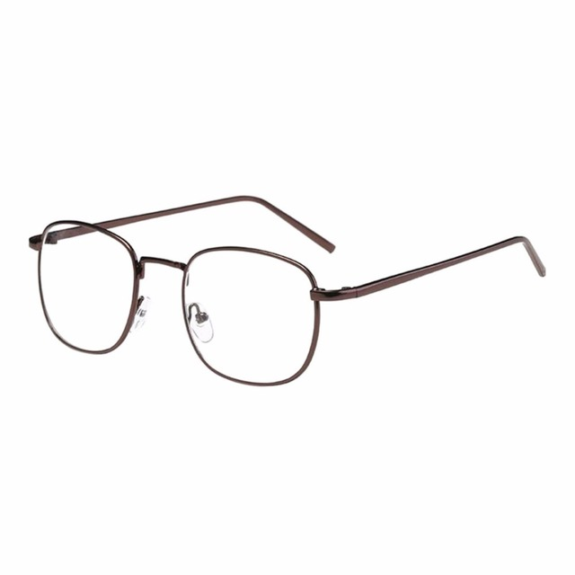 d0c20ea4328 Korean Square Metal Frame Myopia Glasses Men Women Nearsighted Eyeglass  -0.5~6.0 (These are not reading glasses) Coffee