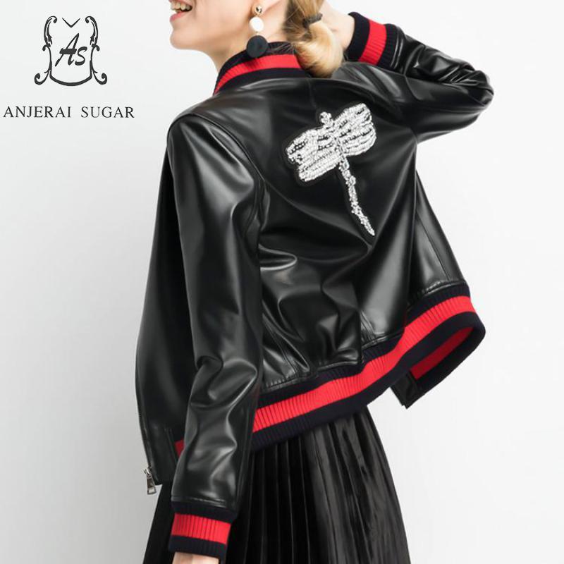 Des En Automne Femmes Vestes Noir Mouton Peau Véritable De Veste Libellule Cuir Hiver Baseball Perles Moto B5a5wrq8O