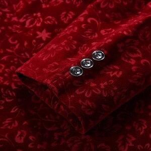 Image 5 - PYJTRL Men Autumn Winter Wine Red Burgundy Velvet Floral Pattern Suit Jacket Slim Fit Blazer Designs Stage Costumes For Singers