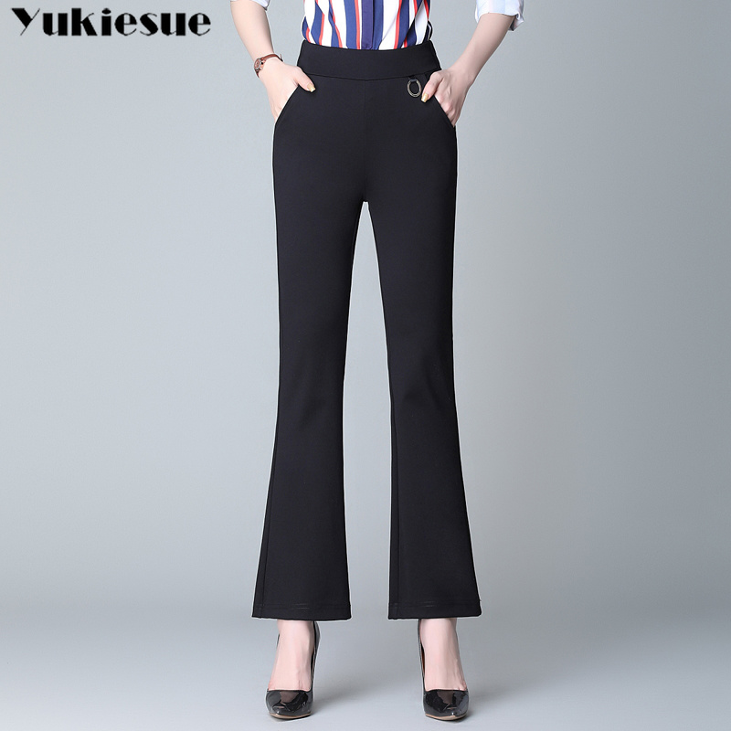 women's   pants     capris   flare   pants   for women with high waist elastic skinny slim bell bottom   pants   female trousers Plus size