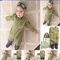 Primavera y otoño ropa de bebé recién nacido mameluco del mono largo de la manga verde bordado del aviador 2 unids trajes de bebé