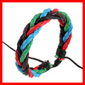 Three Colors Leather Rope Braided Bracelet Adjustable Size Handmade Leather Bracelet