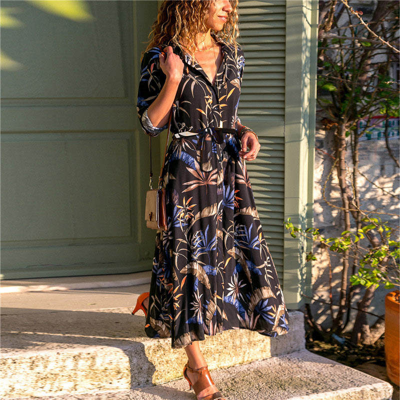 Long Dress Women Floral Print Summer Beach Chiffon Dresses Bohemian Long Sleeve Vintage Holiday Party Dress Vestidos De Fiesta