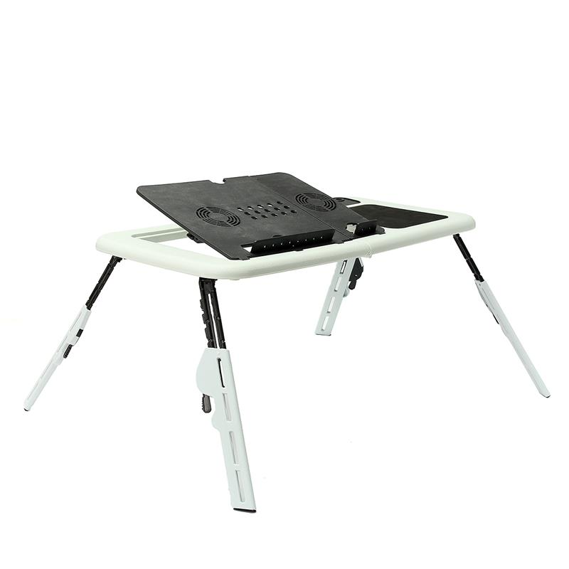 Foldable Table Laptop Lap Desk E-Table Bed With USB Cooling Fans Stand Home