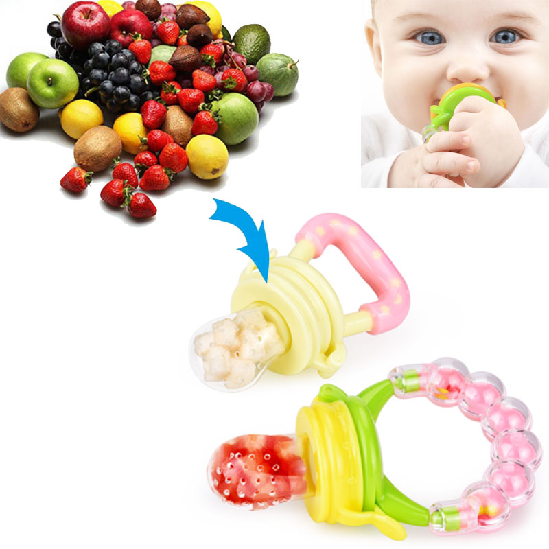 Baby Dummy Nibbles Nutrition Pacifier Fresh Fruit Food Feeder Beads Ring CG