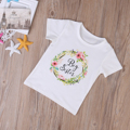 2017 Hot Baby Kid Girl Clothes Little Big Sister Summer Short Sleeve Cotton T-Shirts Short Sleeve Flower Outfits T Shirt Girls