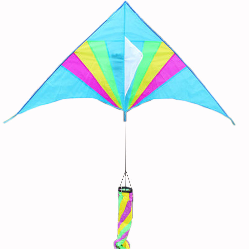Free Shipping Outdoor Fun Sports Rainbow Triangle Kite With Windsock Handle And Line Good Flying
