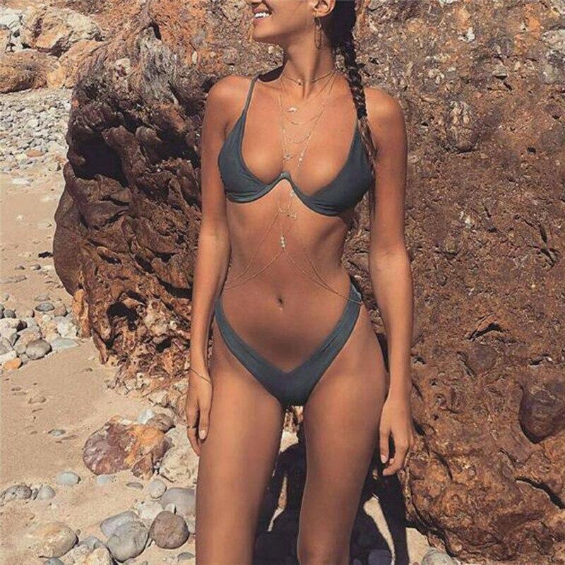 High Cut Thong Bathing Suit High Waist Swimsuit Solid Swimwear Women Brazilian Biquini Beach Micro Bikini Set S/m/l/xl Bra & Brief Sets