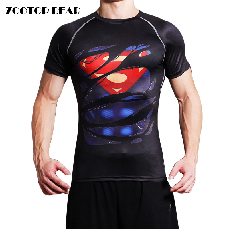Superman Printed T shirt Men Compression Quick Dry T-shirt 2017 Fitness Superhero Bodybuilding Round Neck Camisetas ZOOTOP BEAR