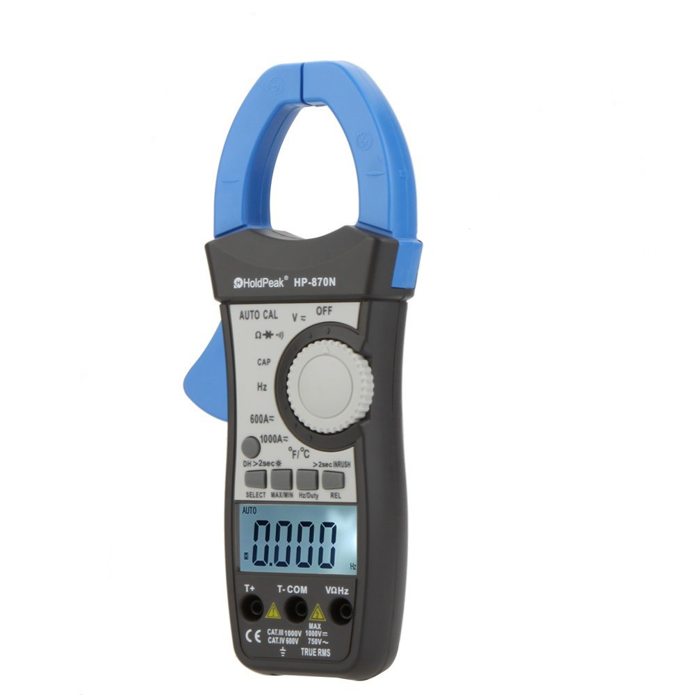 HoldPeak HP-870N Auto Range DC AC Digital Clamp Meter Multimeter Pinza Amperimetrica Amperimetro True RMS Frequency Backlight aimo m320 pocket meter auto range handheld digital multimeter