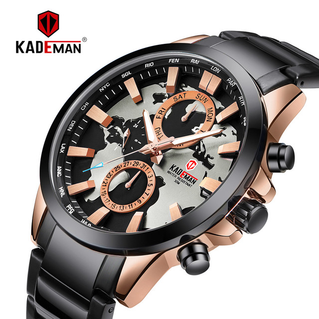 a7e37bd732e KADEMAN Luxury World Map Men Watch TOP Brand Fashion Business Quartz  Wristwatch Stainless Steel New Sport Male Relogio Masculino
