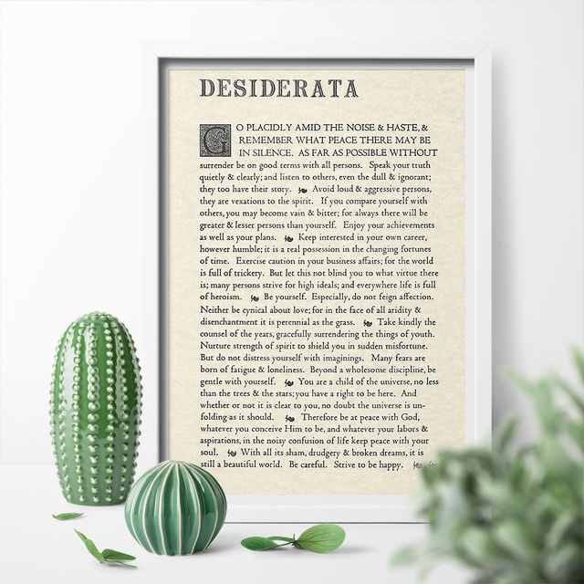 retro poster the desiderata poem by max ehrmann canva painting