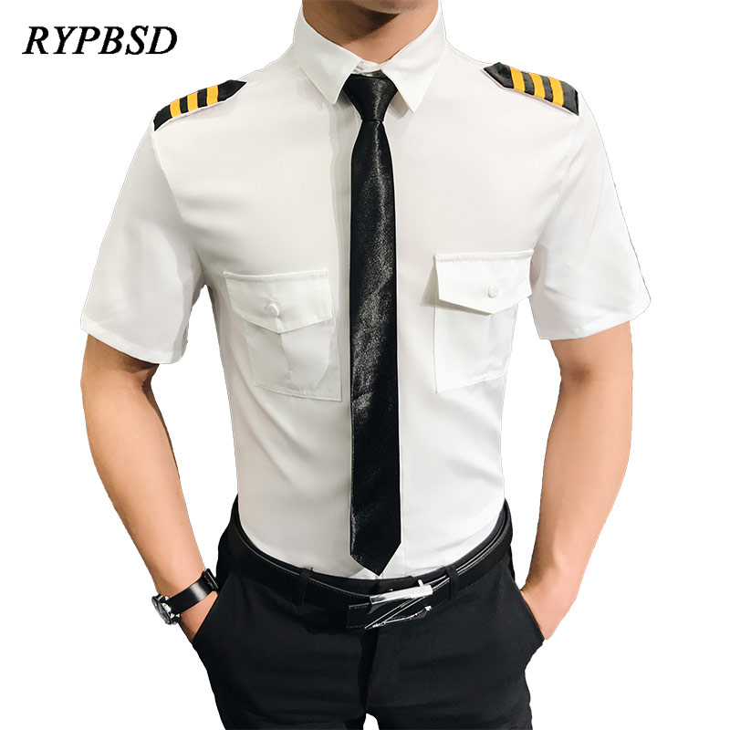 New Arrival Fashion Air Force Shirt Men Aviation Uniform Show Short Sleeve Plus Size Handsome Slim Fit Camisa Social Masculina
