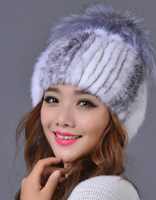 Free SHipping British Style Luxury Mink Fur hats , winter Famous Brand design Genuine Fur caps With fox fur top For Women