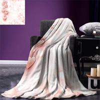 Light Pink Throw Blanket Valentines Day Themed Composition with Cute Vivid Hearts Bokeh Effect Warm Microfiber Blanket