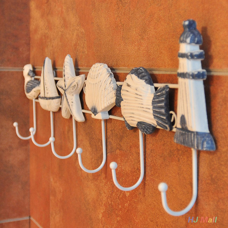 1pcs Random Pattern Italian Ocean Sea Sailing Boat Starfish Beacon Home Decor Wall Hanger Hook