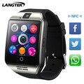 Langtek 2017 q18 + smart watch com câmera do bluetooth relógio de pulso sim Telefones Bom como U8 Smartwatch Para Android Ios cartão Q18 dz09