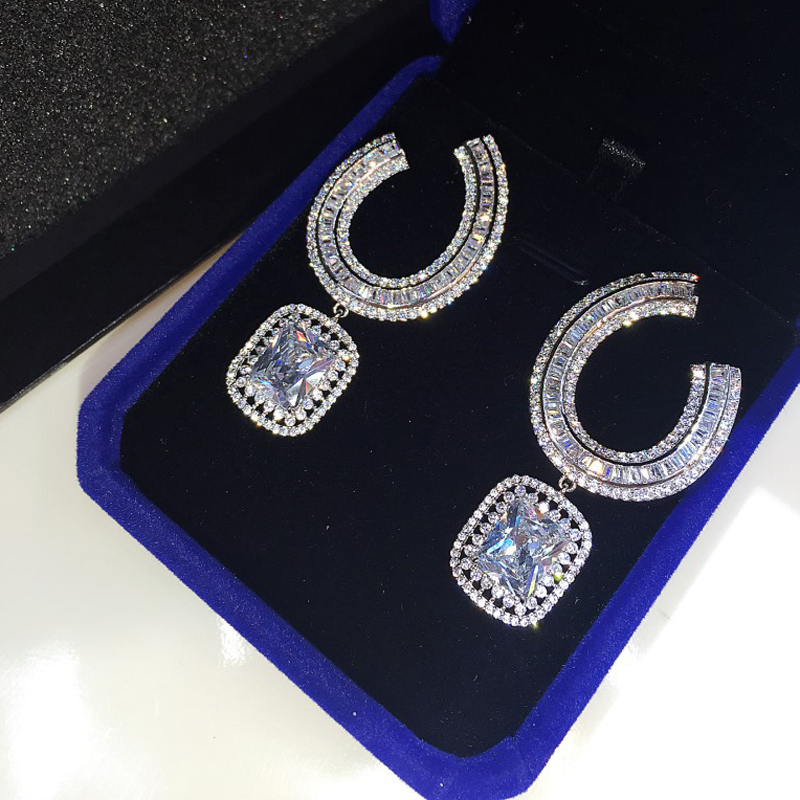 Fashion Sparking Cubic Zirconia Ordinary Earrings For Women Marquise Cut Stone Wedding Bride Earring For Engagement Gifts E-044 e home bride 3550cm холст