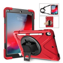 Pen Holder Shockproof Case For apple iPad Air 10.5 2019 Kids Safe Heavy Duty Silicone Hard Cover for ipad air 3 Shoulder strap for ipad mini 4 retina kids baby safe armor shockproof heavy duty silicone hard case cover screen protector film stylus pen