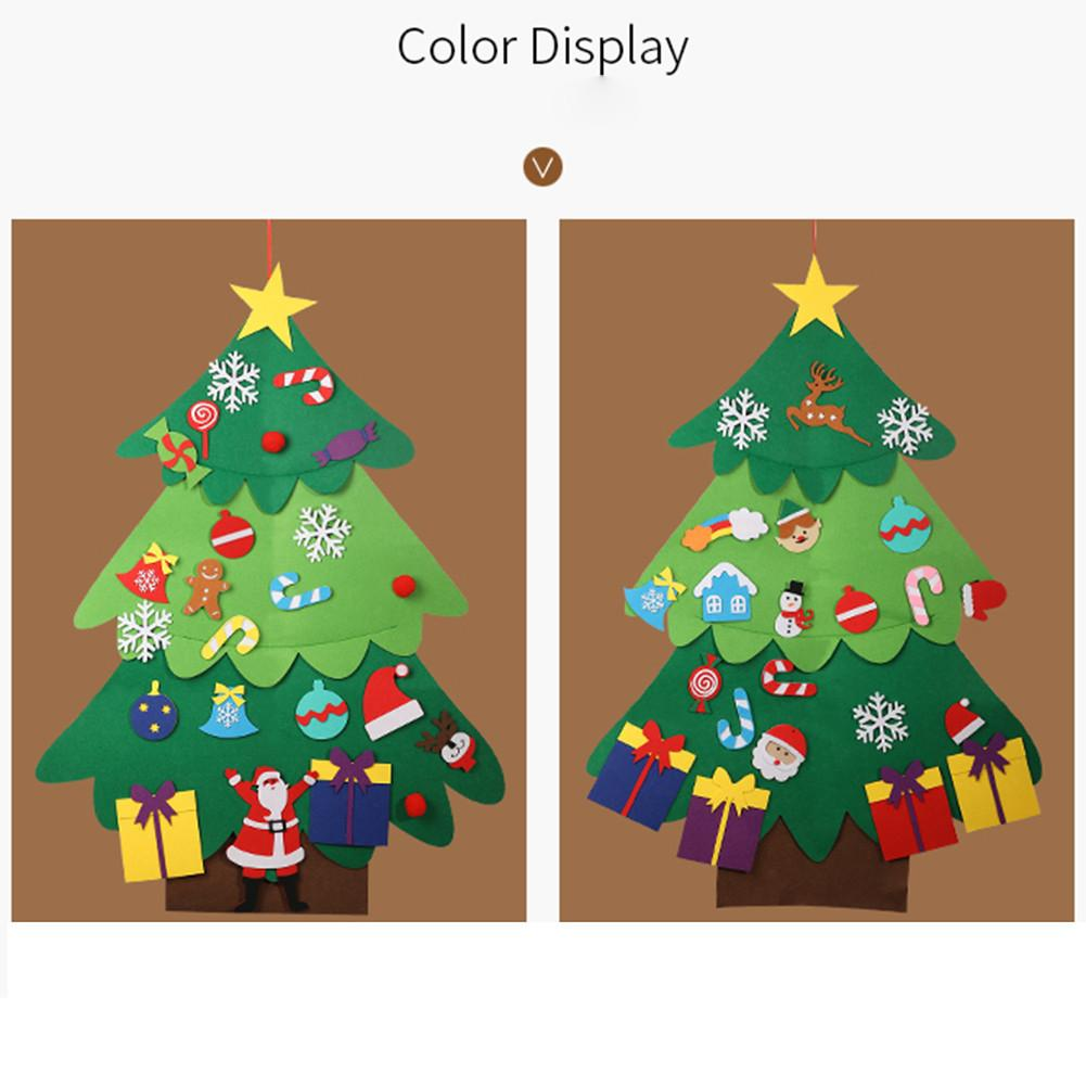 115cm Kids DIY Felt Christmas Tree With Ornaments Children Christmas Gifts For 2019 New Year Door Wall Hanging Xmas Decorations in Pendant Drop Ornaments from Home Garden