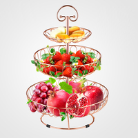3 Tier Decorative Metal Round Wire Display Fruit Basket Countertop Stand