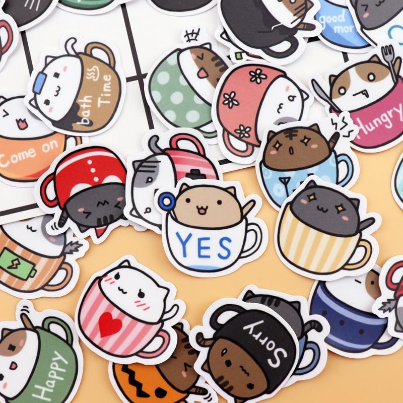40pcs Self-made Cute Cup Cat Sticker  Scrapbooking Decorative  Sticker Decoration /waterproof Paper Stickers