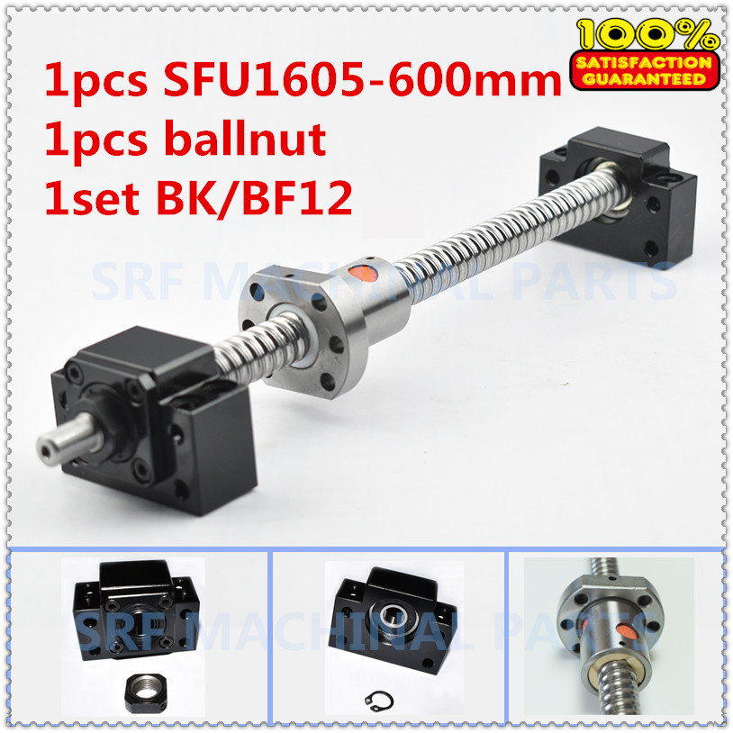 1pcs 16mm diamater Rolled Ball Screw SFU1605 L=600mm C7+1pcs SFU1605 ball nut+1set BK/ BF12 Ballscrew end support for CNC parts free shipping sfu1605 3 sfu1605 300mm rm1605 300mm c7 rolled ball screw 1pcs 1pcs ballnut cnc parts
