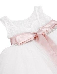 Image 5 - TiaoBug Wit/Ivoor Meisje Kant Lange Jurk Met Zoete Bloem Voor Leeftijd 2 12 Baby Kids Prinses Jurk voor Wedding Prom Party