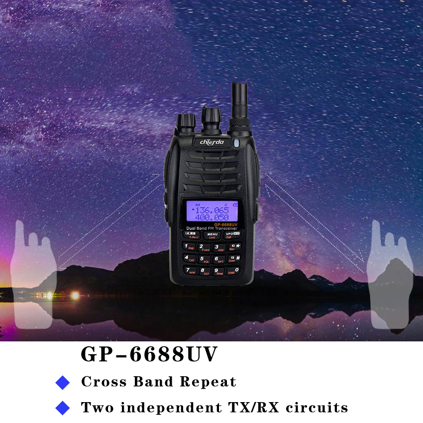 NEWest GP 6688UV Walkie Talkie With Cross Band Repeater Dual Band Portable Radio Two Way Radio VHF/UHF 128CH 5W