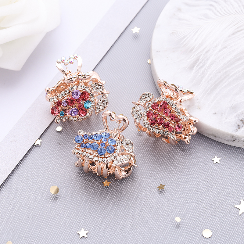 New crystal rose flower Hair crab claw Clips rhinestone Hairpins for Women's girl Princess flowers Tiara Barrettes Accessories
