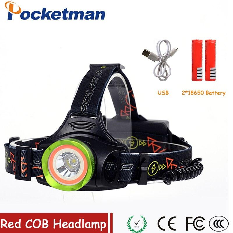 Pocketman Led Headlamp Aluminum 5000LM XM-L2+Red COB Headlight Head Lamp lighting Light Flashlight Torch Lantern Fishing