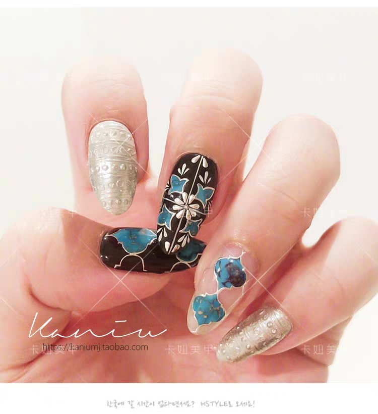 Newest WG 0101 Bohemia pattern back glue nail sticker template nail decals DIY nail decorations for nail wraps in Stickers Decals from Beauty Health