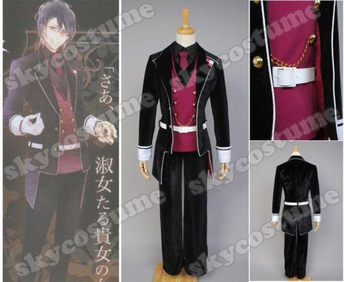 Anime DIABOLIK LOVERS Haunted Dark Bridal Hero Sakamaki Reiji Halloween Cosplay Costume Full Set