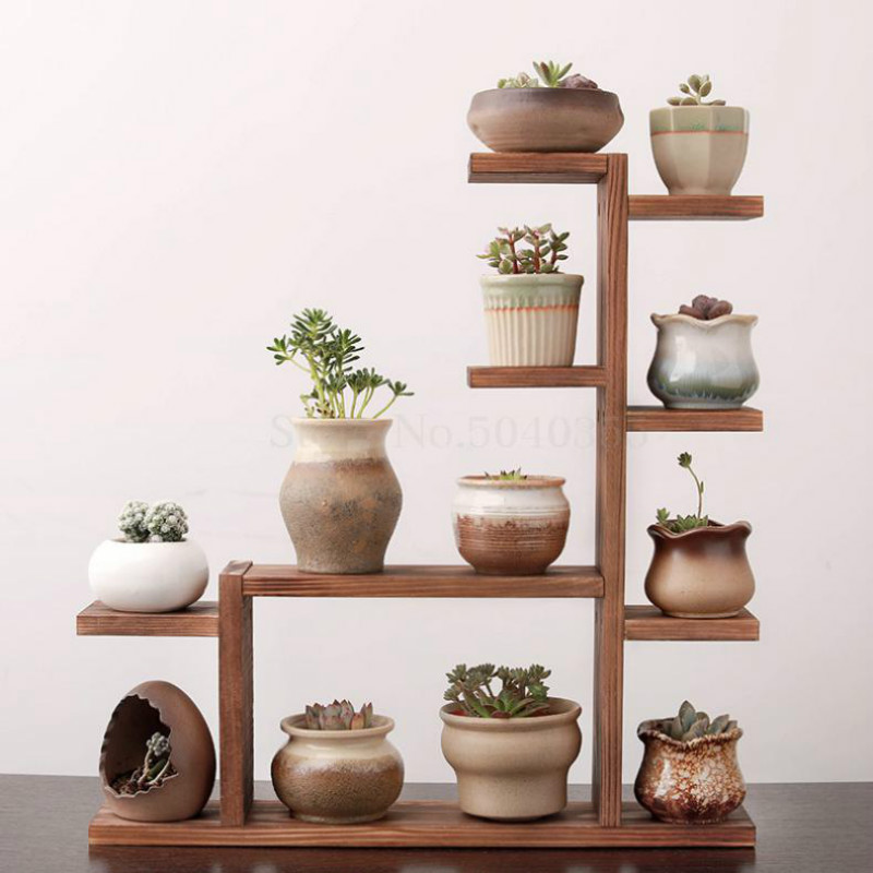 Solid Wood Desktop Flower Stand Indoor Multi-layer Small Flower Stand Green Flower Frame Decoration Living Room Window Pot Rack