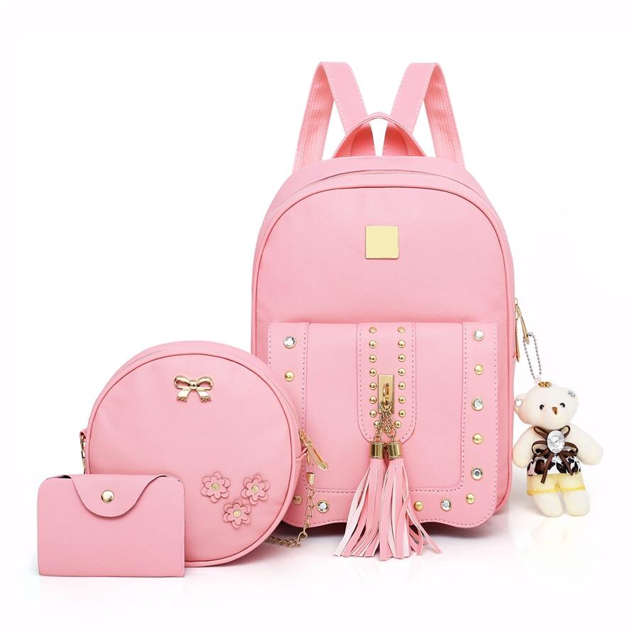 Fashion Backpack PU Leather Women Shoulder Bag High Quality Rivet School Bags For Teenage Girls Tassel Female Travel Backpacks