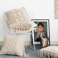 45 X 45cm Pillow Cover Fringed Gradient Macrame Hand woven Cotton Pillowcase Geometry Boho Decorative Pillows Cushion Cover