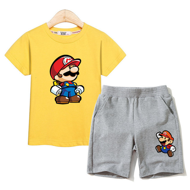 Baby boys sets summer tees kids shorts mario clothes girls outfits kid suits costumes children prints clothes boy suits