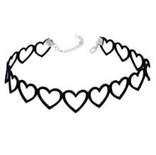 Simple Choker Necklace For Women Punk Hollow Out Heart Chokers Black Lace Chocker Sexy Chic Necklaces For Girls Fashion Gift(China)