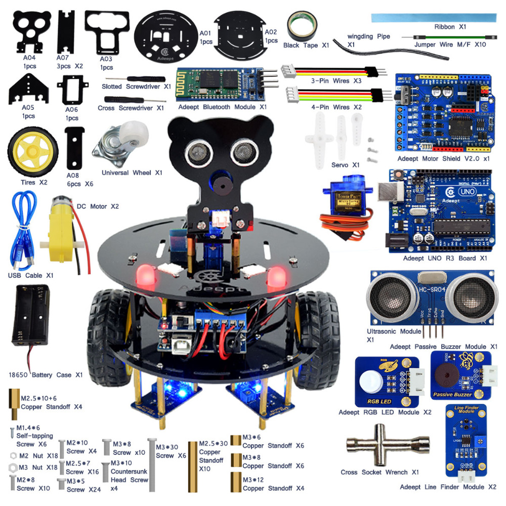 Adeept 3WD Bluetooth Smart Robot Car Kit for Arduino UNO R3 with Line Tracking Android APP Remote Control Obstacle Avoidance adeept diy electric new project lcd1602 starter kit for arduino uno r3 mega 2560 pdf free shipping book headphones diy diykit