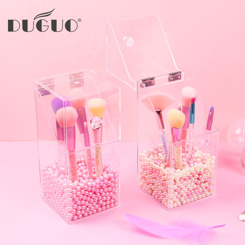 DUGUO Cute Stationery Transparent Desktop Storage Box Portable Dust Cover Makeup Pen Storage Bucket Storage Desktop Makeup Tools