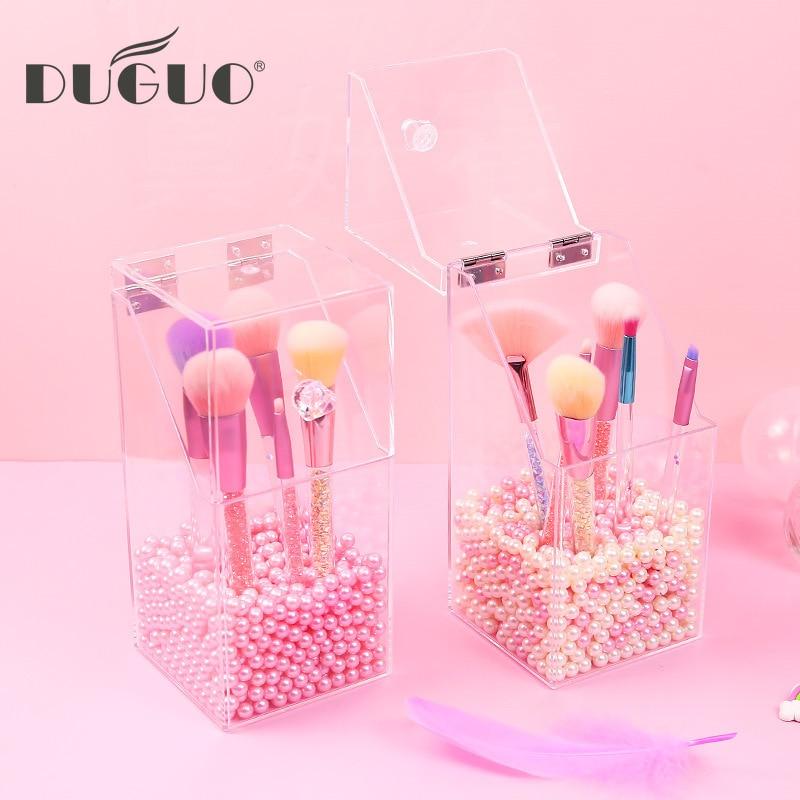 DUGUO Cute Stationery Transparent Desktop Storage Box Portable Dust Cover Makeup Pen Storage Bucket Storage Desktop Makeup Tools