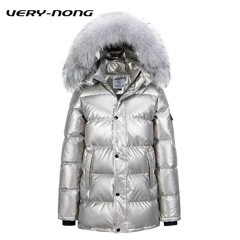 VERY-NONG 2018 New Men Women Winter Down Coats Fur Collar Duck Down Jacket Female Leather Warm Fashion Jacket Outwear