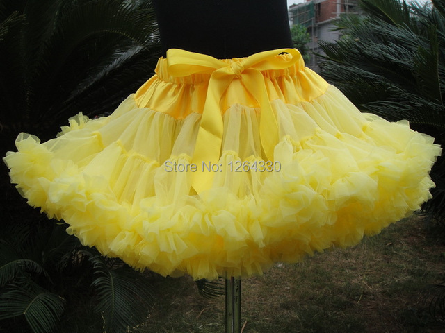 Holiday Free Shipping hot sale yellow pettiskirts chiffon fluffy pettiskirts baby clothing PETS-124
