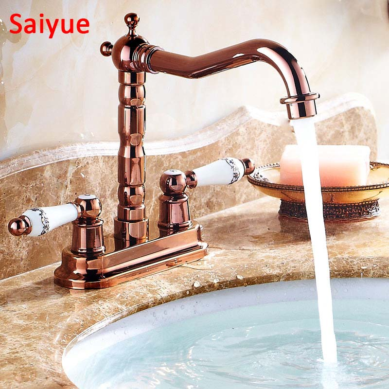 Luxury  4 Inch Centerset  rose gold  Brass Bathroom Sink Faucet Dual Knobs Basin Mixer Tap ydl f 0575 centerset single handle rose gold finish brass bathroom sink faucet golden