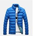 Зима 2016 новый Сгущает Вниз и Парки куртки моды для мужчин карман на молнии стенд воротник мужская зимняя куртка