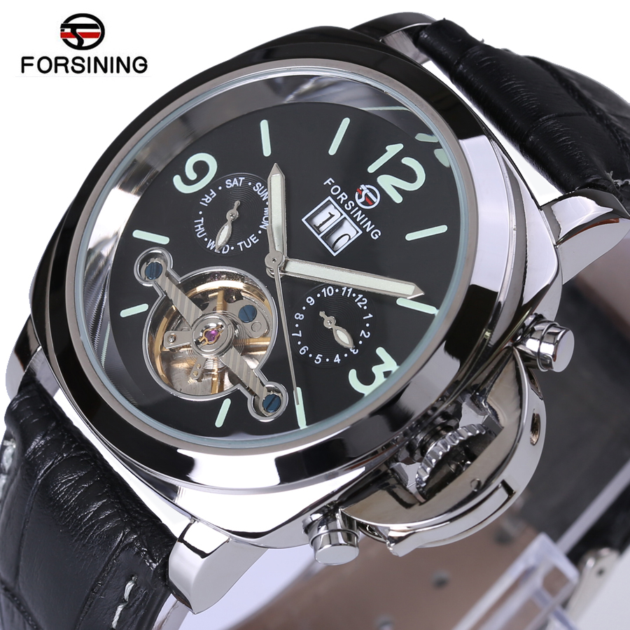 Forsining Full Calendar Tourbillon Auto Mechanical Mens Watches Top Brand Luxury Wrist Watch Men erkek kol saati Montre Homme sewor full calendar tourbillon auto mechanical mens watches top brand luxury wrist watch erkek kol saati montre homme