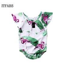 Newborn Baby Girls Swimwear Flamingo Leaves Printed Swimsuit Ruffle Bikini 2018 Bathing Suit Biquini Beachwear